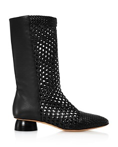 Salvatore Ferragamo - Women's Tarsinavit Woven Leather Mid-Calf Boots