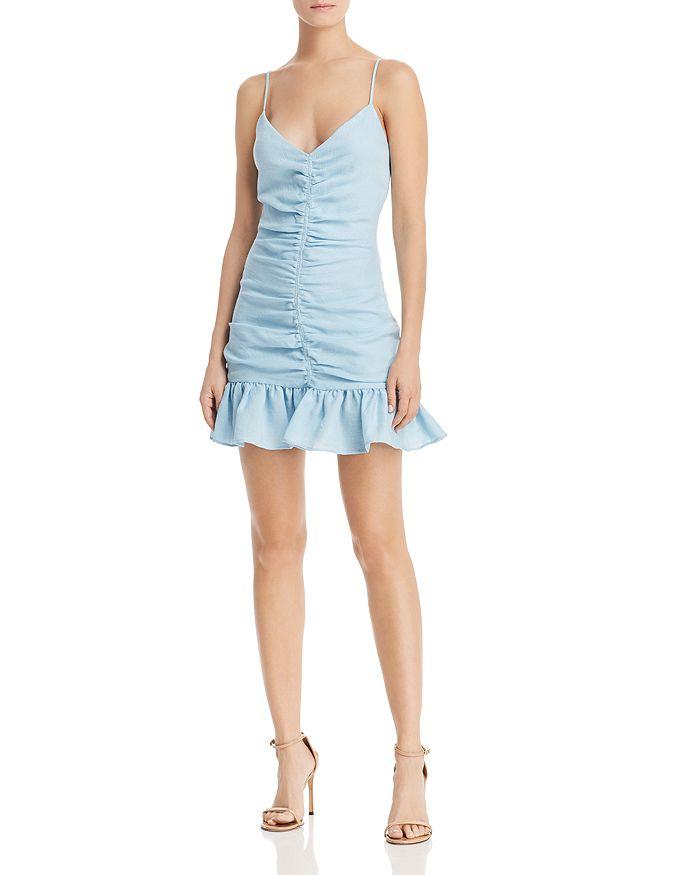 4b4b00a675a The East Order - Celine Ruched Ruffled Mini Dress