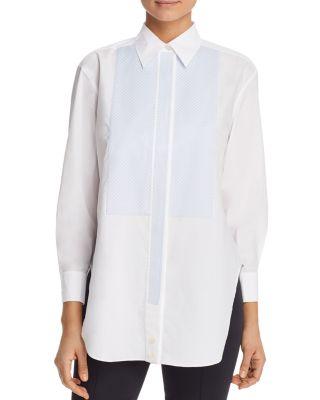 Gingham Bib Cotton Tunic Shirt by Tory Burch