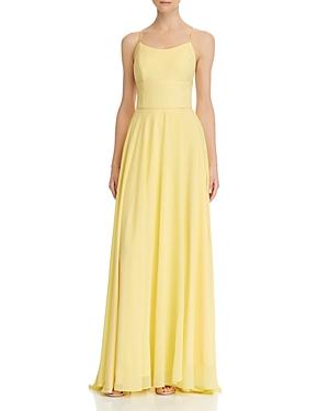 Avery G Lace-Up Chiffon Gown