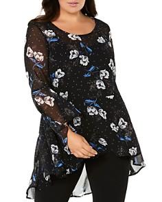 Estelle Plus - Luminous Floral-Print Tunic Top