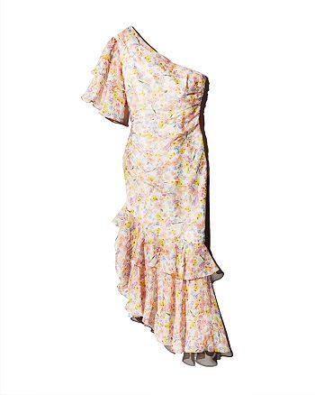 Amur - Wild Meadow One-Shoulder Silk Dress