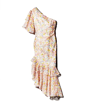 Amur Dresses WILD MEADOW ONE-SHOULDER SILK DRESS