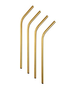 Orrefors - Gold Straws & Cleaning Brush, Set of 4