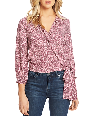 1.state Tops WILDFLOWER RUFFLE-TRIM WRAP TOP
