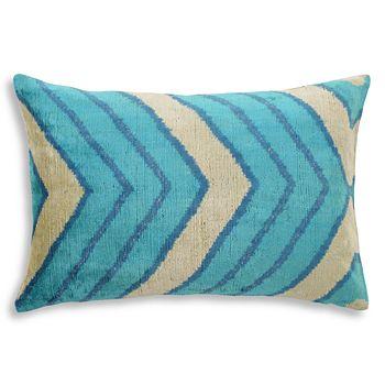 "Mitchell Gold Bob Williams - Ikat Chevron Silk Velvet Pillow, 22"" x 15"""