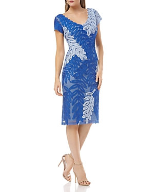 Js Collections Dresses SOUTACHE LEAF SHEATH DRESS