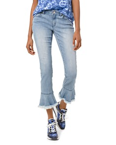 MICHAEL Michael Kors - Flounce Izzy Mid Rise Cropped Slim Jeans in Light Vintage Wash
