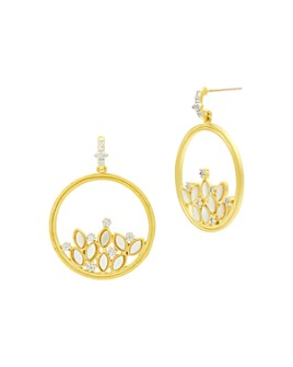 Freida Rothman - Fleur Bloom Cluster Open Circle Drop Earrings in 14K Gold-Plated & Rhodium-Plated Sterling Silver