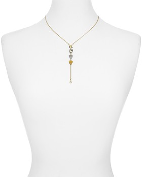 """Chan Luu - Champagne Diamond Slice Lariat Drop Pendant Necklace in 18K Gold-Plated Sterling Silver or Sterling Silver, 16"""""""