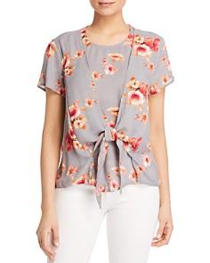 Tolani - Tie-Front Floral Blouse