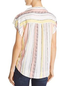 Velvet Heart - Striped Cap Sleeve Button Down Top