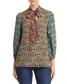 Alice and Olivia - Sheila Tie-Neck Damask Print Top