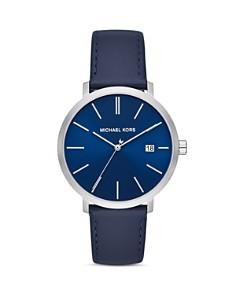 Michael Kors - Blake Navy Blue Leather Strap Watch, 42mm
