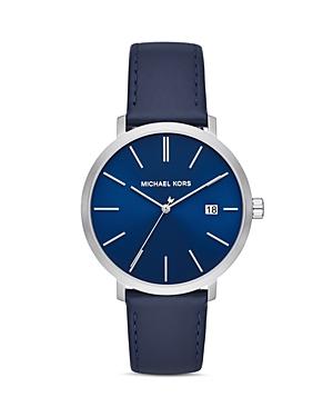 Michael Kors Blake Navy Blue Leather Strap Watch, 42mm