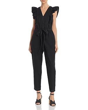 Rebecca Taylor Suits LA VIE RUFFLED POPLIN JUMPSUIT