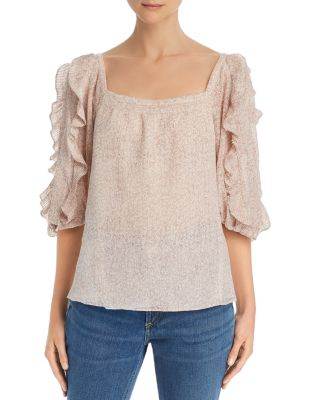 Printed Ruffled Crepe Top by Rebecca Taylor