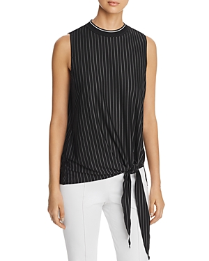 Elie Tahari ISABELLA SLEEVELESS STRIPED TIE-FRONT TOP