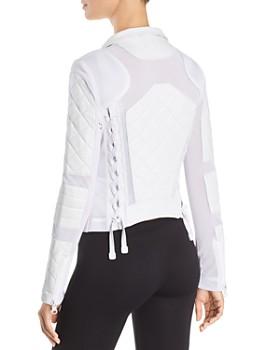 Blanc Noir - Leather & Mesh Moto Jacket