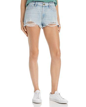 FRAME - Le Grand Garcon Shredded Raw-Edge Denim Shorts in Hurrah