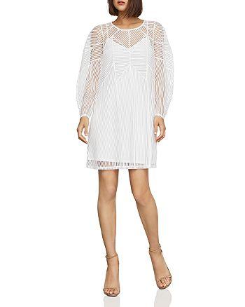 BCBGMAXAZRIA - Geo Striped Mesh Shift Dress
