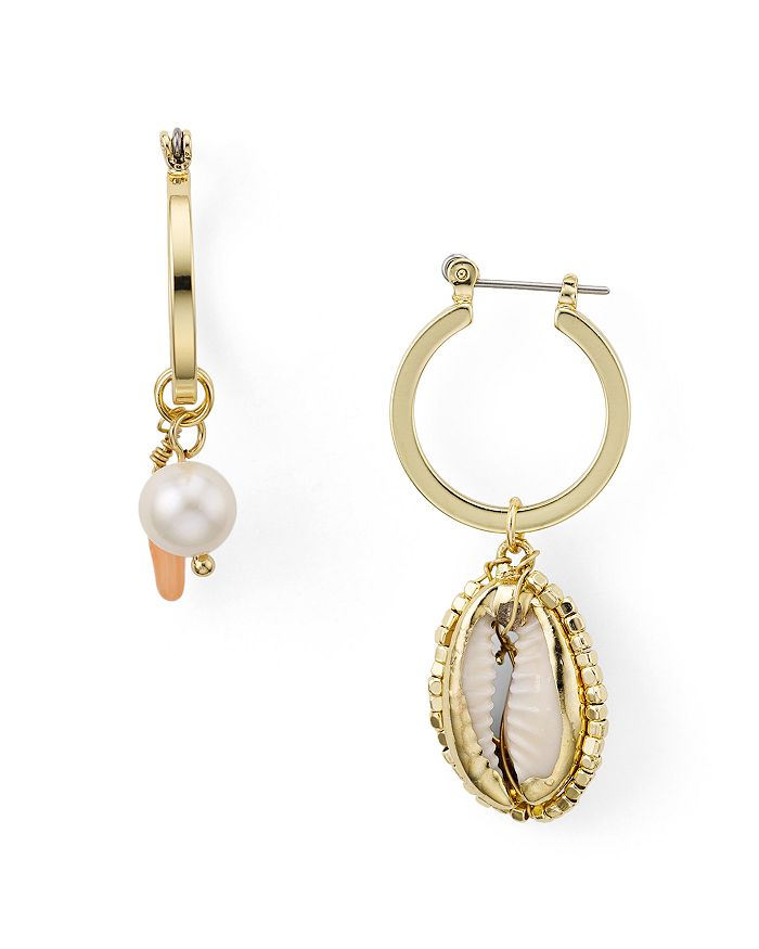 AQUA - Mismatched Shell & Pearl Drop Earrings - 100% Exclusive
