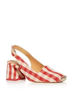 Miista - Women's Gingham Slingback Block-Heel Sandals