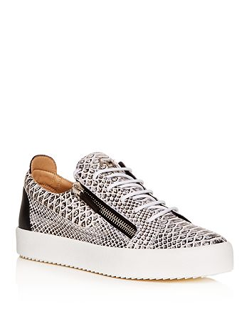 Giuseppe Zanotti - Men's Roccia Snake-Embossed Leather Low-Top Sneakers
