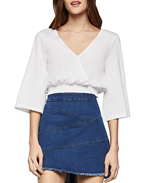 Bcbgeneration Tops BCBGENERATION SMOCKED CROSSOVER CROPPED TOP
