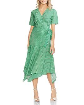 VINCE CAMUTO - Striped Handkerchief Wrap Dress