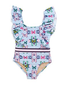 Shade Critters - Girls' Multi-Butterfly Fluttered One-Piece Swimsuit - Little Kid