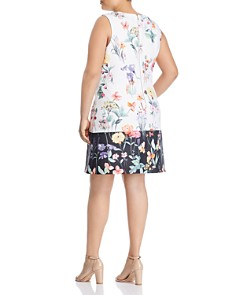 Adrianna Papell Plus - Sleeveless Floral-Print Shift Dress