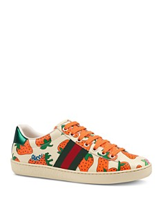Gucci - Women's Ace Gucci Strawberry Print Leather Sneakers