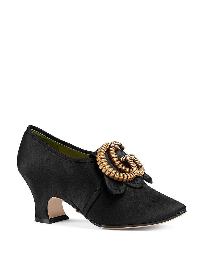 Gucci - Women's Satin Double G Mid-Heel Pumps