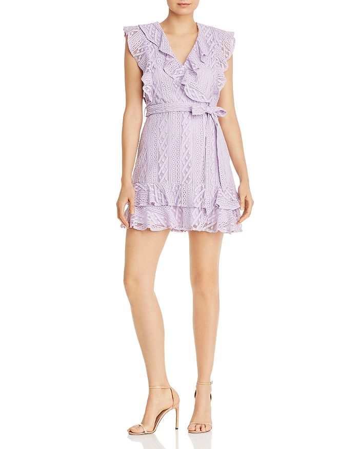 AQUA - Ruffled Lace Faux-Wrap Dress - 100% Exclusive