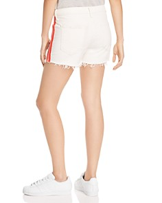 MOTHER - The Sinner Frayed Denim Shorts in Whipping The Cream Pink Racer