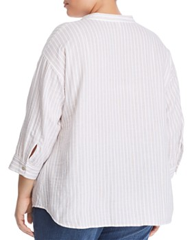 ee6a4c1af75 ... Eileen Fisher Plus - Striped Organic Cotton Shirt