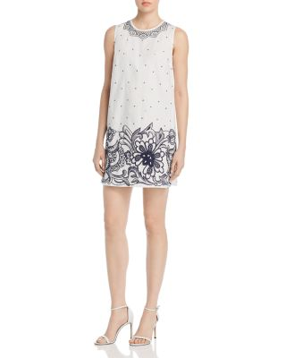 Embroidered Cotton Shift Dress by Paule Ka