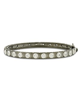 Freida Rothman - Studded Eternity Bangle Bracelet in Rhodium-Plated & Platinum-Plated Sterling Silver
