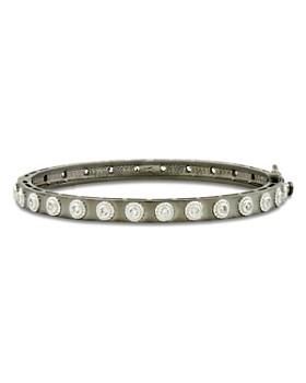 Freida Rothman - Studded Eternity Bangle Bracelet in Rhodium-Plated & Platinum-Plated Sterling Silver