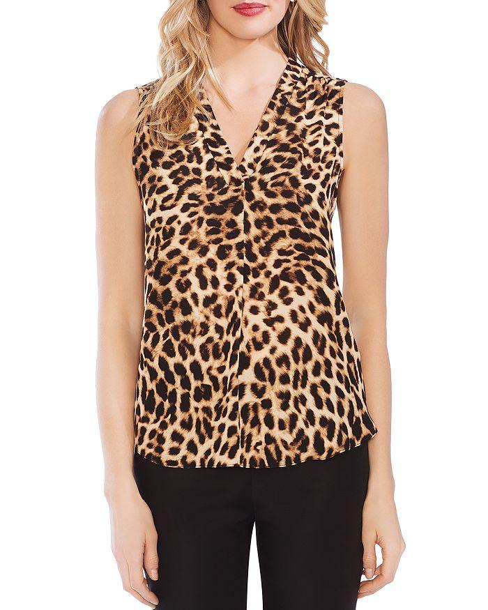 VINCE CAMUTO - Leopard-Print V-Neck Top