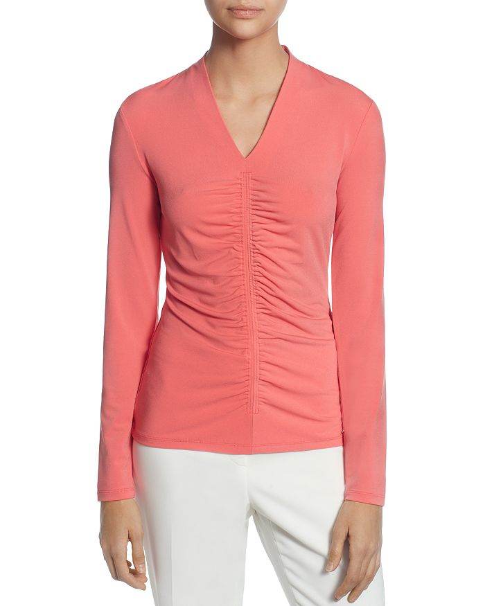 T Tahari - Long-Sleeve Ruched Top