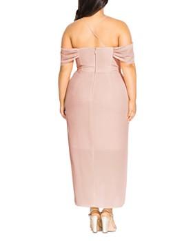 City Chic Plus - Draped Cold-Shoulder Gown