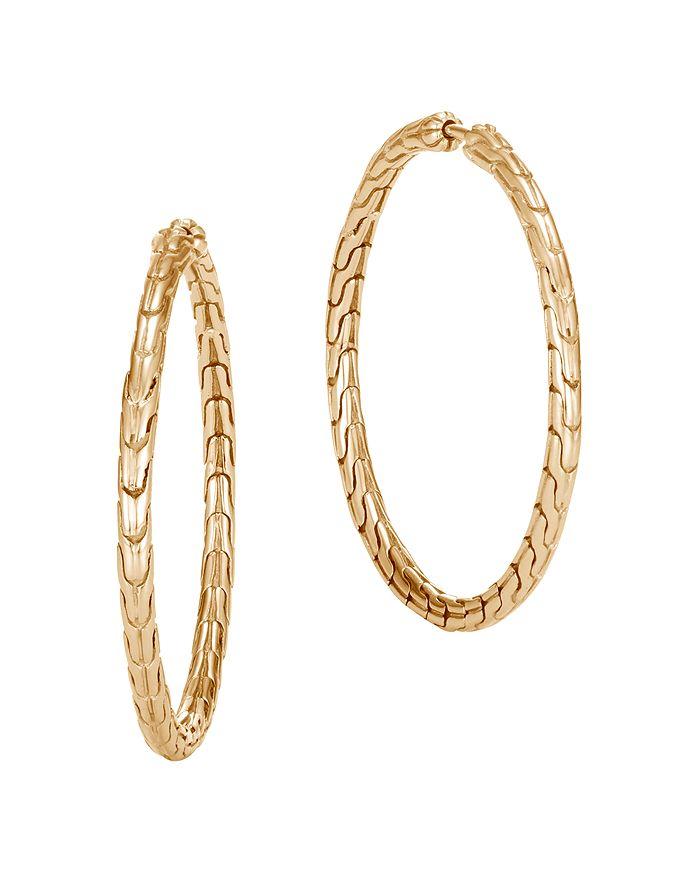 JOHN HARDY - 18K Yellow Gold Classic Chain Medium Gold Hoop Earrings