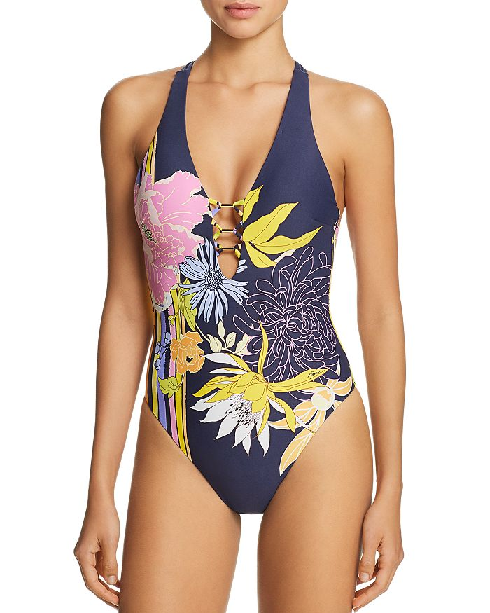 a827cf734f2 Trina Turk Bal Harbour Floral V-Plunge One Piece Swimsuit ...