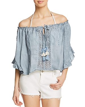 Surf Gypsy Crochet Off-the-Shoulder Cropped Top Swim Cover-Up