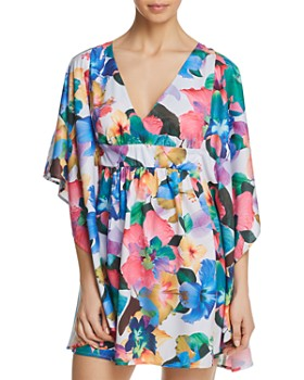 b387670b20 Nanette Lepore - Technicolor Tropical Caftan Swim Cover-Up ...