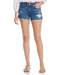 rag & bone/JEAN - High-Rise Cutoff Denim Shorts in Quartz With Holes