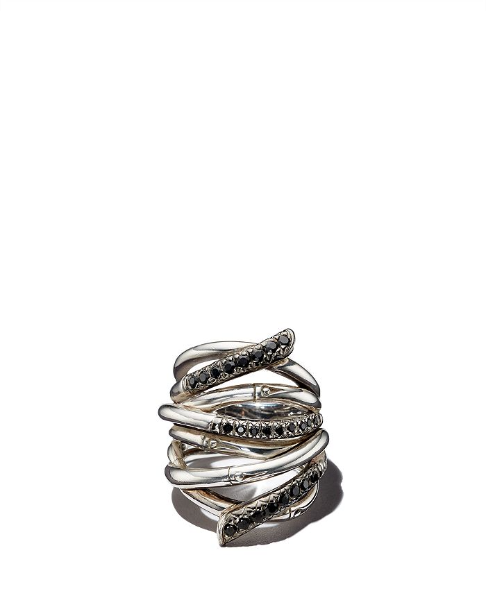 JOHN HARDY - John Hardy Women's Sterling Silver Bamboo Lava Extra Wide Ring with Black Sapphires