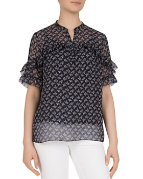 Gerard Darel - Chemise Ruffled Printed Blouse - 100% Exclusive
